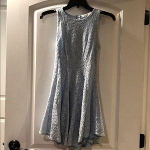 Sleeveless, light blue, mini dress